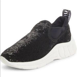 MIU MIU   Black 10MM Sequin Slip On Sneaker